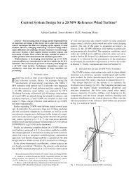 Wind Turbine System Design Pdf Control System Design For A 20 Mw Reference Wind Turbine