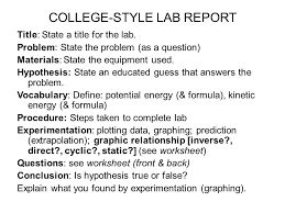 college style lab report title state a title for the lab