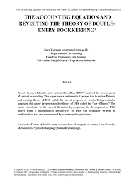 pdf the accounting equation and revisiting the theory of double entry bookkeeping