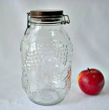 Large Decorative Glass Jars With Lids Fruit Embossed Decorative Glass Jar Wood Top Jar 100 Liter Glass 60