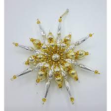 Gablonzer Christbaumschmuck Stern Silbergold 14 Cm