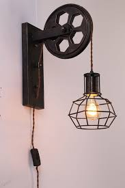 kiven plug in dimmable plley industrial cage wall sconce vintage wall light fixture industrial retro rustic loft antique wall lamp edison vintage wall