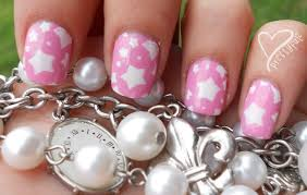 adorable-pink-and-white-star-nail-art-design-idea-for-short-nails ...