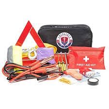 Roadside Assistance Emergency Car Kit First Aid Kit Jumper Cables Tow Strap Led Flash Light Rain Coat Tire Pressure Gauge Safety Vest And More