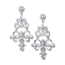 accessorize your wedding gown with this amazing pair of vintage inspired chandelier earrings featuring genuine austrian crystals perfect any bride