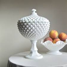 milk glass hobnail pedestal bowl designs