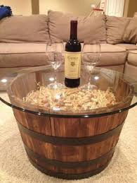 reversible reclaimed wine barrel. Wine/whiskey Barrel Coffe Table. From Home Depot, Glass Pier 1 Reversible Reclaimed Wine T