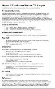 Resume Warehouse Worker Formatted Templates Example