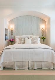 wall lighting for bedroom. Gorgeous Guest Bedroom With Pale Blue Cypress Wall And Gold Sconces. Sconces Are From Lighting For T