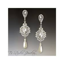 pearl and marquise bridal chandelier earrings savannah