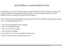 hotel bellboy recommendation letter In this file, you can ref  recommendation letter materials for hotel ...