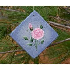 pink roses country cottage chic tree ornament primitive folk art painting