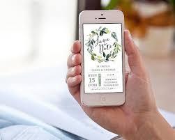 Electronic Save The Date Invitation Wedding Greenery