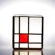 ann smyth stained glass mondrian red tealight holder stained glass gift tea light candle