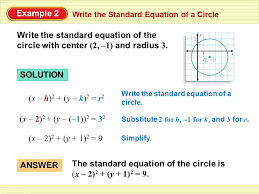 write the standard equation of a circle example 2 write the standard equation of the circle