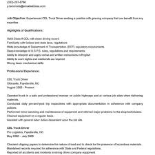 Truck Driver Sample Resume Resume For Study