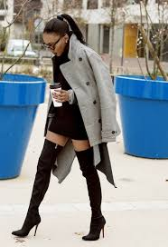 how to wear grey pea coat black sweater dress black suede over the