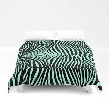 blue black glitter zebra print duvet cover