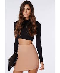 Missguided Women s Curve Hem Mini Skirt Nude in Natural Lyst