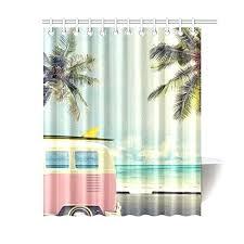 beach fabric shower curtain custom vintage car in the beach with a surfboard bathroom waterproof fabric shower curtain in shower curtains from home garden