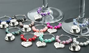 wine glass charms wedding table decorations favours baby pink diy