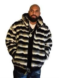 ablanche chinchilla look faux fur jacket