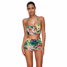 US New <b>Sexy Women</b> Bikini Set Floral Print Swimsuit <b>High Waisted</b> ...