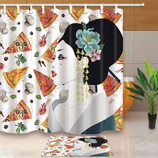 japanese asian woman on pizza bathroom fabric shower curtain with hooks 71