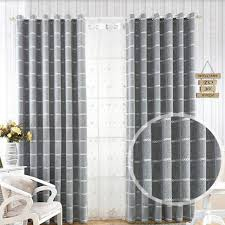 custom size curtains luxury grey thicker imitation cashmere shading jacquard curtains for
