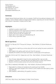 Resume Examples For Warehouse Worker Warehouse Worker Resume Sample