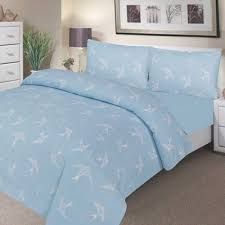 waterproof poly cotton bedding single duvet set blue swall and