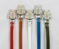 leather teddy bear pacifier holder clip br lthr all