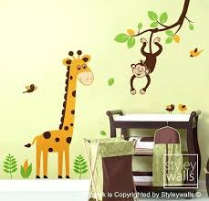 giraffe wall decal jungle animals monkey swinging from branch and cute giraffe wall decal nursery kids baby room vinyl wall decal jungle wall decals for