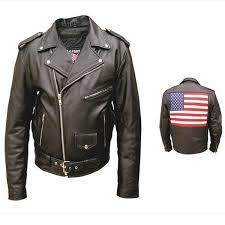 allstate mens classic motorcycle black leather usa flag biker jacket