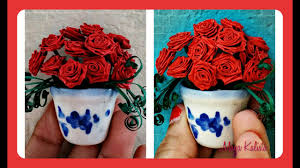 Paper Quilling Rose Flower Basket How To Make Diy Paper Quilling Beautiful Miniature Flower Pot Rose