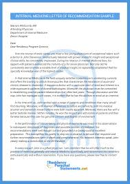 Letters Of Recommendation Personal Impressive Internal Medicine Letter Of Recommendation Sample
