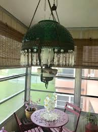 antique hanging library oil lamp converted glass hobnail shade for in lauderhill fl