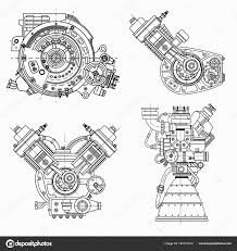 Combustion Engine Design Set Of Drawings Of Engines Motor Vehicle Internal