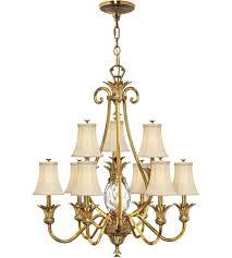 hinkley 4887bb plantation 10 light 33 inch burnished brass foyer chandelier ceiling light 2 tier
