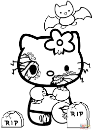 Hello Kitty Halloween Zombie coloring page | Free Printable ...