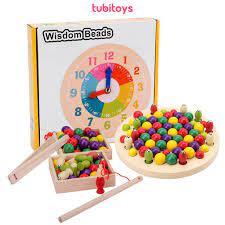 Đồ chơi giáo dục montessori cho bé TUBITOYS, Bộ câu cá gắp bi học giờ cao  cấp chính hãng 199,000đ