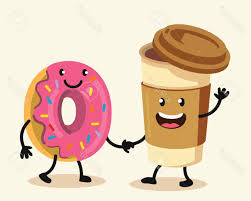 best free funny cartoon characters coffee and donut vector flat design pictures