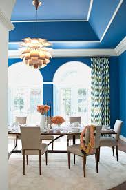 Blue dining room furniture Beach Theme Electric Blue Dining Room House Beautiful 18 Best Dining Room Paint Colors Modern Color Schemes For Dining Rooms