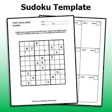 Sudoku Template Sudoku Template Design Your Own Review Worksheet By Emily P K Tpt