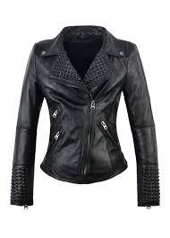 faux leather studded moto jacket