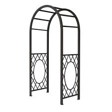 english garden 44 in x 86 in metal grey steel round top arbor