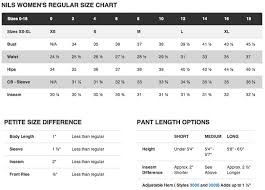 Nils Skiwear Regular Size Chart Find Out More On Our
