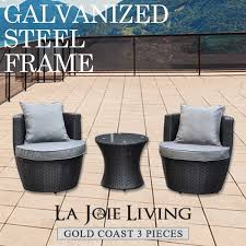 Gold coast 3 piece outdoor garden balcony set furniture rattan wicker steel frame wholesales direct