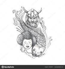 тату с изображением викинга викинг карп гейши голову тату