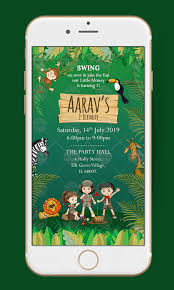 Jungle Theme Birthday Invitations Jungle Theme Birthday Invitation Happy Invites Invitation Maker